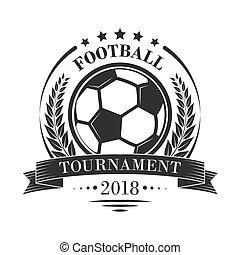 footbal, vektor, emblem, turnering, logotype, wreath., stjerner, retro, laurbær, firmanavnet, eller, bånd