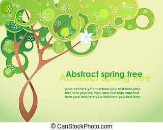 forår, abstrakt, blomster, træ