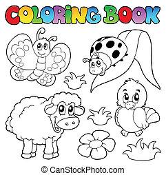 forår, coloring, dyr, bog