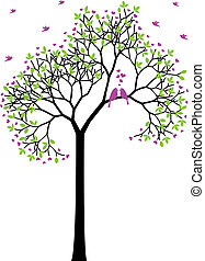 forår, fugle, vektor, constitutions, træ