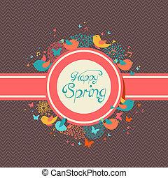 forår, glade, vinhøst, illustration, etikette