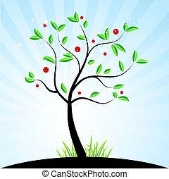 forår, konstruktion, din, træ