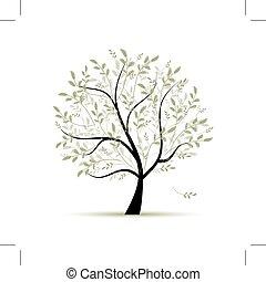 forår, konstruktion, træ, grønne, din