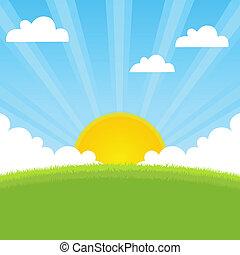 forår, solskin, landskab