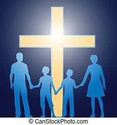 foran, kristen, familie, beliggende, lysende, kors