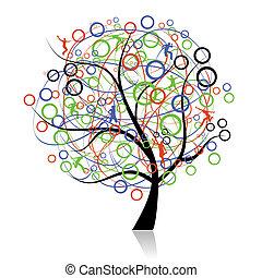 forbinde, det peoples, træ, væv
