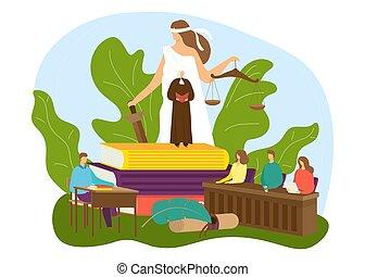 forbrydelse, gårdsplads, bedømmelse, vektor, sagfører, dommer, advokat, retfærdighed, lov, arbejde, folk, skalaer, begreb, design., lovlig, illustration.
