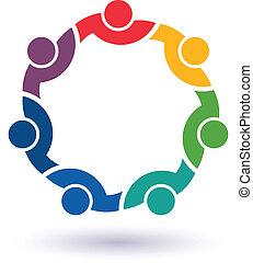 forbundet, 7 folk, andet., glade, hjælper, ikon, hold, congress., vektor, gruppe, kammerater, begreb, hver