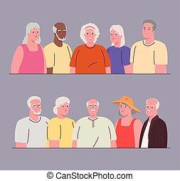 foren, afbildningerne, folk, gamle