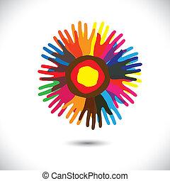 foren, folk, som gælder de fleste, samfund, flower:, beliggende, iconerne, concept., broderskab, glade, farverig, det gengi'r, illustration, hånd, kronblade, enhed, hjælper, grafik, denne, osv., vektor, hold
