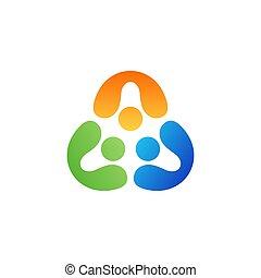 foren, folk, vektor, logo, konstruktion, symbol, teamwork, trekant, ikon