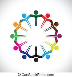 forestiller, begreb, folk, graphic-, teamwork, sammen., børn, og, også, enhed, ansatte, netværk, spille, diversity, illustration, møde, hænder, børn, denne, iconerne, osv., vektor, dåse, eller