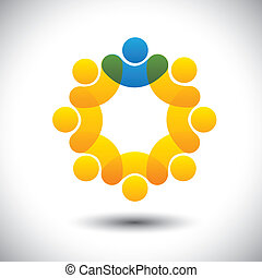 forestiller, begreb, tilsynsførende, abstrakt, samfund, driftsleder, og, -, også, vector., cirkel, leder, medlemmer, leder, ikon, grafik, stab, denne, ansatter, iconerne, ledelse, osv., dåse, hold