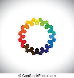 forestiller, folk, samfund, børn, sammenkomster, -, børnehave, også, vector., ansatte, cirkel, farverig, spille, illustration, børn, skole, grafik, studerende, denne, sammen, osv., dåse, eller
