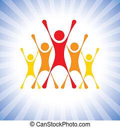 forestiller, vektor, sejr, folk, osv., begejstret, graphic., hold, denne, illustration, udfordring, også, achievers, vindere, achievers, dåse, medlemmer, fejr, super, ophids, competition-
