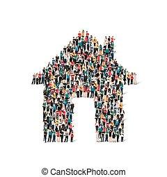 form, folk, hus, gruppe