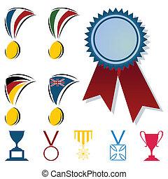 form, illustration, vektor, tilkende, cups., medaljer