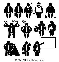 forretningsmand, arbejder, tyk, branche mand
