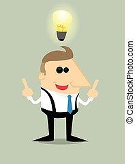 forretningsmand, cartoon, ide