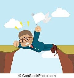 forretningsmand, cliff, stak, mellem