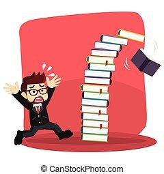 forretningsmand, fald, bøger, panik