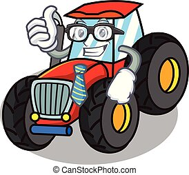 forretningsmand, firmanavnet, karakter, cartoon, traktor