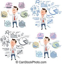 forretningsmand, hånd, kort, doodle