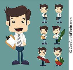 forretningsmand, kort, sæt, bogstaverne, opstille