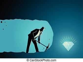 forretningsmand, mining, skat, grundlæg, grave