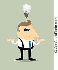 forretningsmand, nej, ide, cartoon