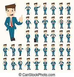 forretningsmand, opstille, sæt, bogstaverne