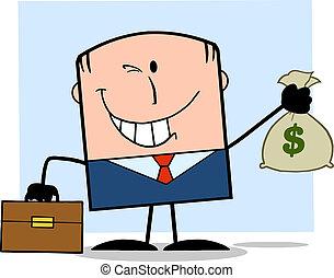 forretningsmand, penge, holde bag