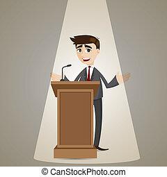 forretningsmand, podium, cartoon, tales