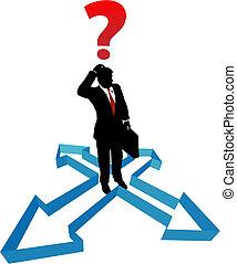 forretningsmand, retning, pile, ubeslutsomhed, spørgsmål