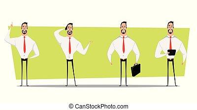 forretningsmand, sæt, karakter, design.