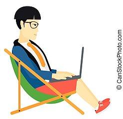 forretningsmand, salon, chaise, siddende, laptop.