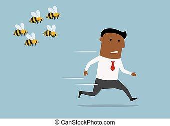 forretningsmand, væk, bier, løb, cartoon