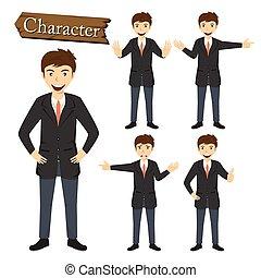 forretningsmand, vektor, sæt, illustration, karakter