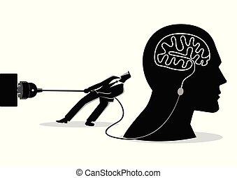 forsøg, unplug, forretningsmand, hjerne