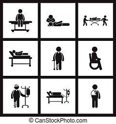 forsamling, iconerne, patienter, sort, stilfuld, sundhed, hvid, omsorg
