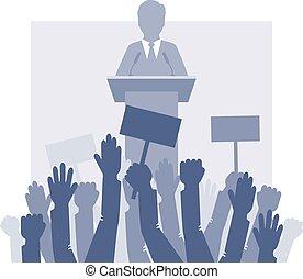 forside, folkemængde., taler, stænder