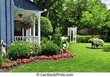 forside, hus, yard