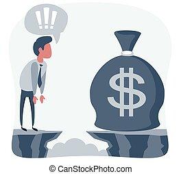 forside, mål, bag., kigge, concept., illustration., hul, forretningsmand, penge, achievement, vektor