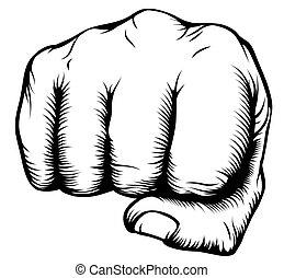forside, punching, næve, hånd