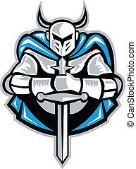 forside, ridder, retro, sværd, kap