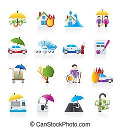 forsikring, risiko, iconerne