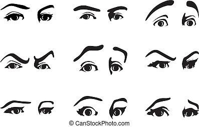 forskellige, øje, illustration, vektor, emotions., udtryk, udtryk