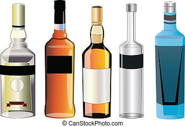 forskellige, alkohol, flavors