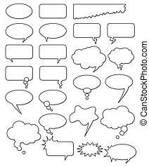 forskellige, comics, web., klippe, samling, eller, forme, adder, vektor, tekst, let, size., nogen, tom