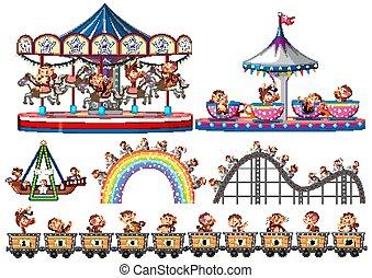 forskellige, glade, ride, ride, aber, sæt, cirkus